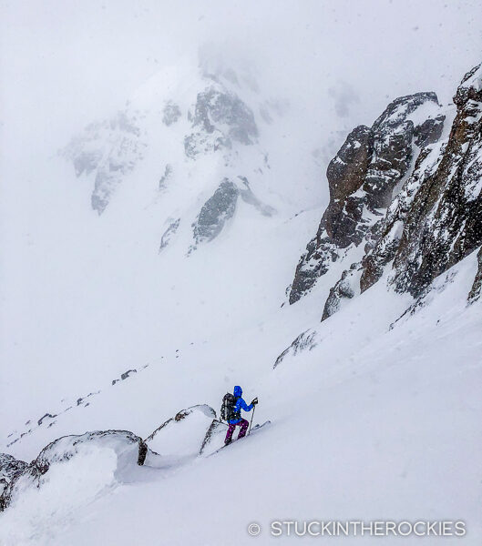 Christy Mahon skis the southeast face of U.S. Grant Peak