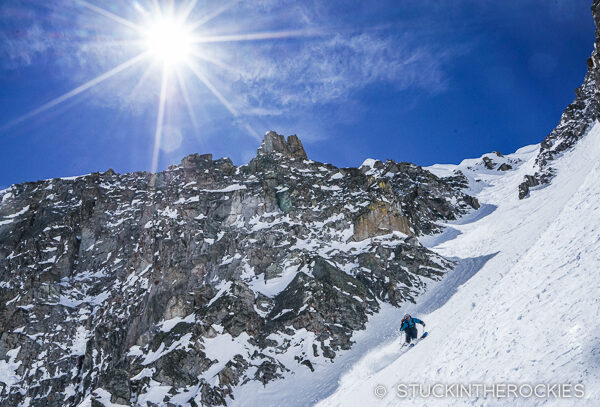 Chris Davenport skiing the Northeast Couloir of Willow Peak.