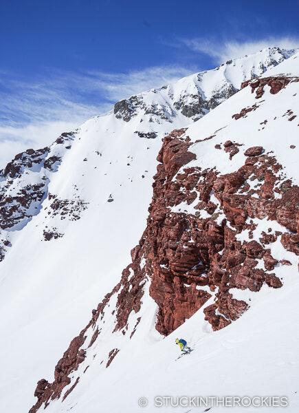 Skiing towards Willow Peak