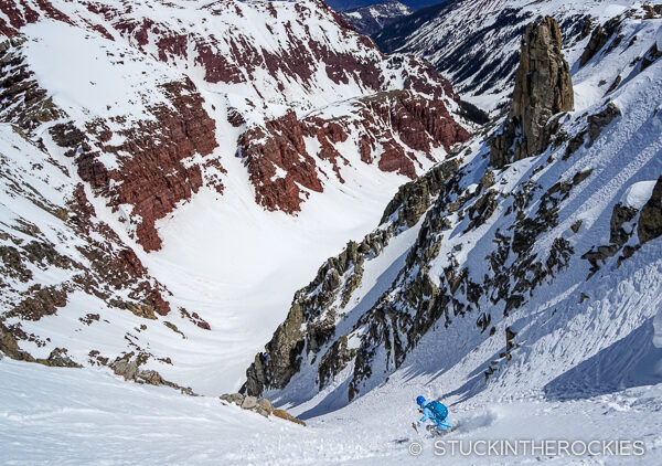 Mike Arnold skis the Northeast Couloir on Willow Peak