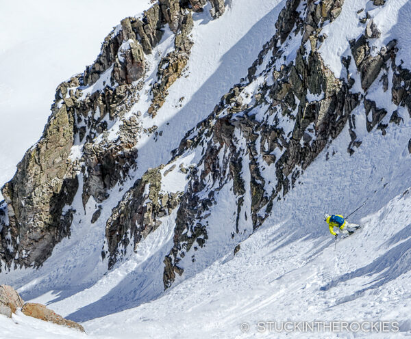 Skiing the Northeast Couloir on Willow Peak