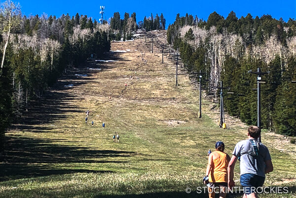 Hiking up the Pajarito Ski Area
