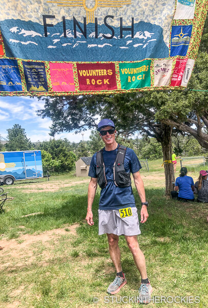 Ted Mahon finishes the Jemez Mountain 50k