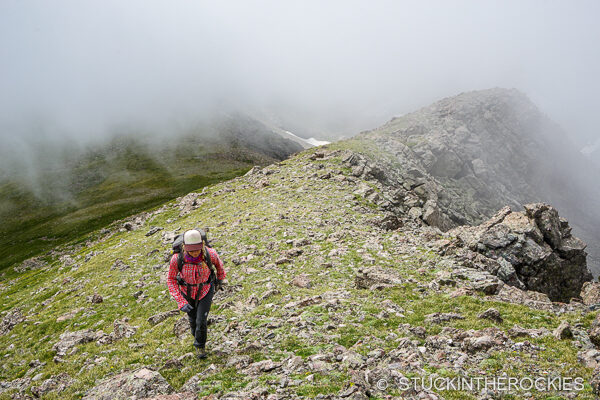 En route to the next summit on the ridge, Point 13517 (unranked).
