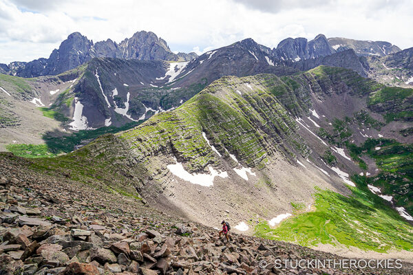 Climbing the talus field from Macey Lakes to Colony Baldy