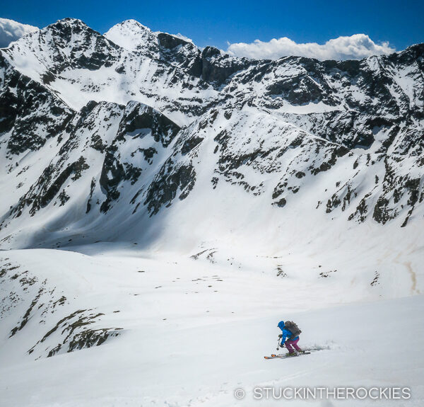 Christy Mahon skiing the East Face of Twin Peaks A