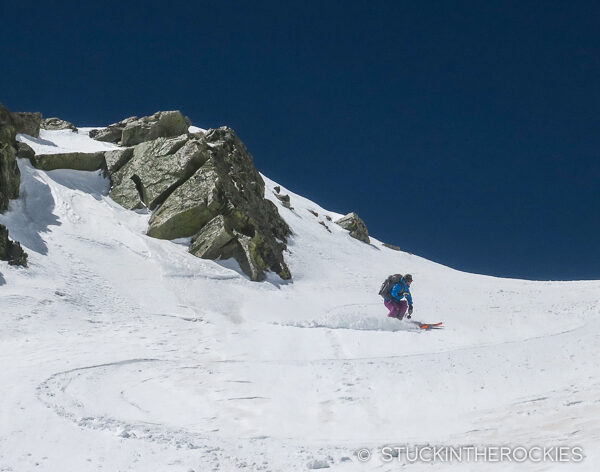 Christy Mahon skiing the terrain above Zapata Lake