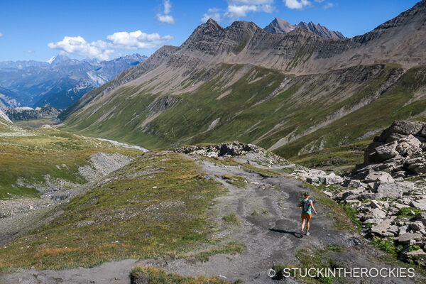 Christy Mahon, descending Col de la Seigne.