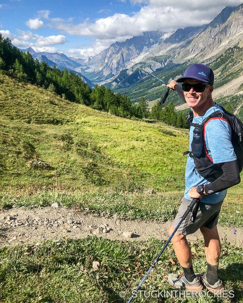 Ted Mahon on the Tour du Mont Blanc route, pointing out the Col de le Seigne