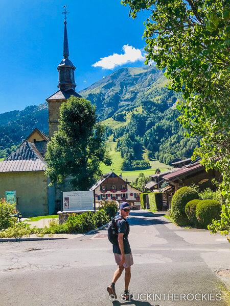 Ted Mahon arriving in Les Contamines after Day 1 on the Tour du Mont Blanc