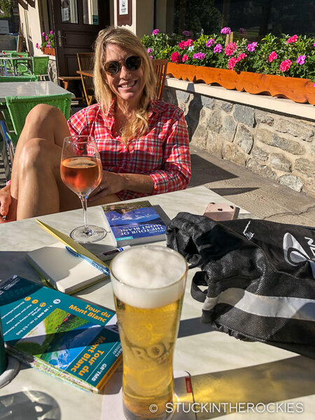 Christy Mahon taking some time to enjoy Les Contamines after our first day on the trail.