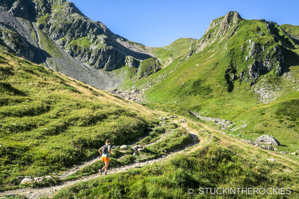 Christy Mahon running up towards the Col du Bonhomme.