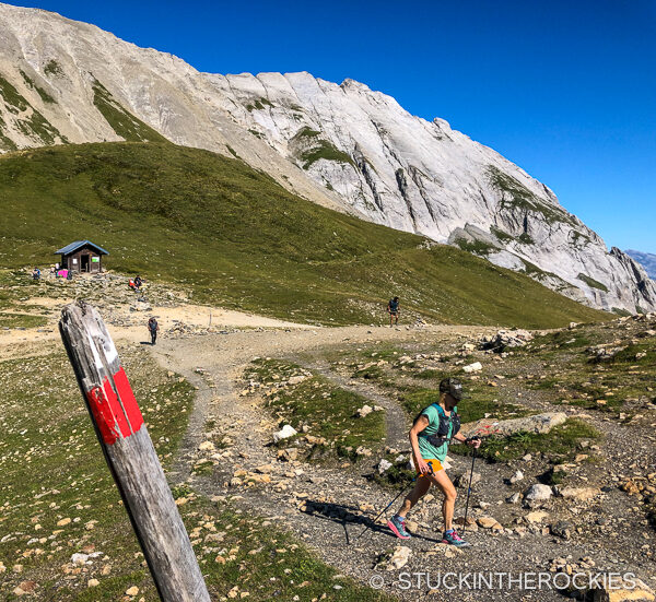 Christy Mahon crossing over the Col du Bonhomme on day 2 of the Tour du Mont Blanc