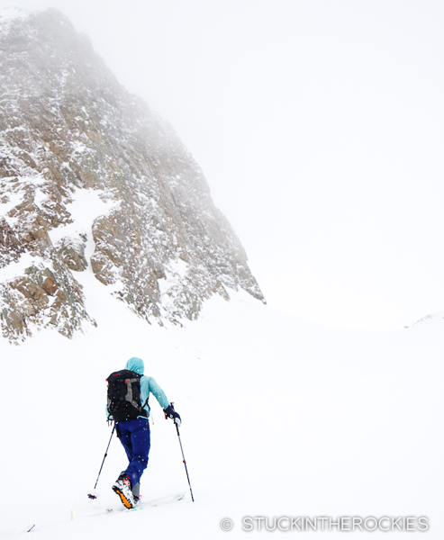 Christy Mahon skinning up by South Hayden Peak.