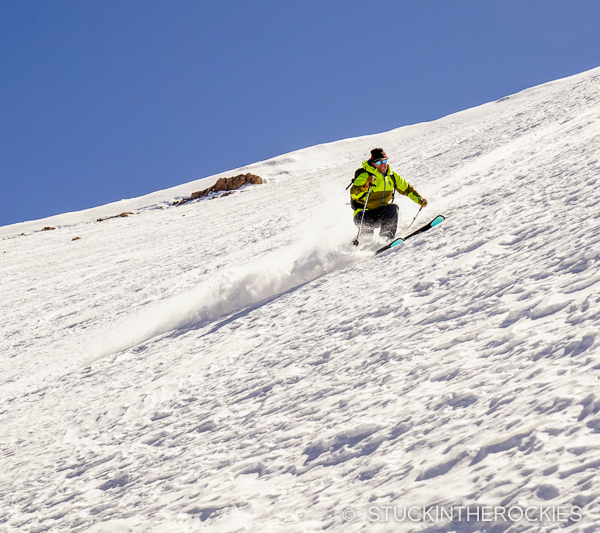 Chris Davenport skis some old north facing powder on Jbel Ayyachi