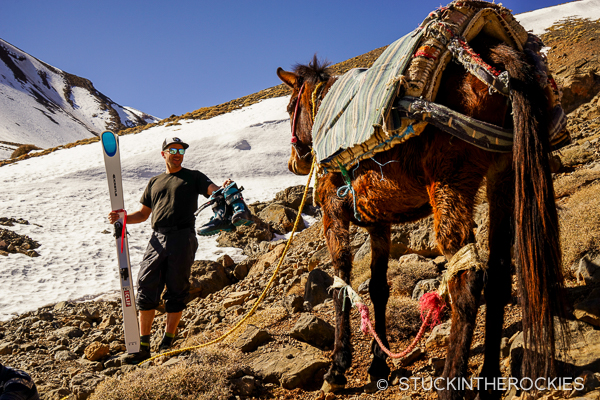 Chris Davenport gets ready to ski Jbel Ayyachi in the High Atlas Mountains of Morocco.