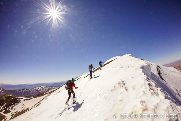 Aaron, Christy and Chris nearing the summit of Jbel Ayyachi, on our first day of our ski Morocco adventure.