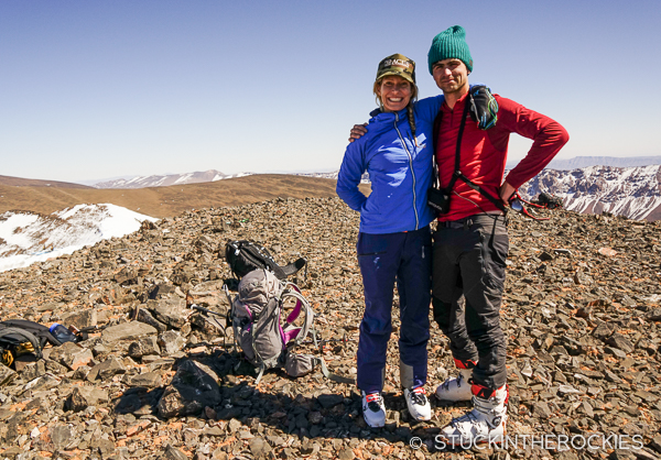 Christy Mahon and Aaron Gould-Kavet on the summit of Ayyachi