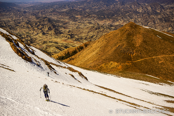 Christy Mahon skins Jbel Maaskar, on the third day of our ski Morocco adventure