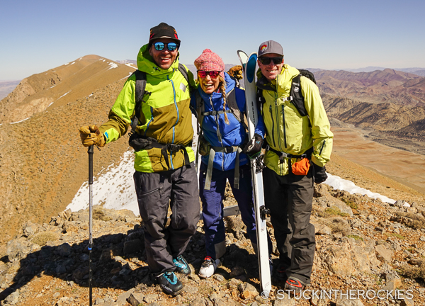 Chris Davenport, Christy Mahon, and Ted Mahon on the summit of Jbel Maaskar