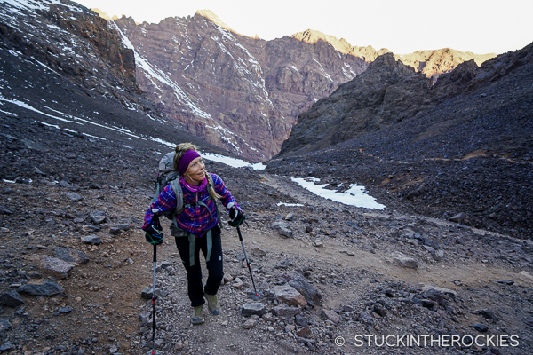 Christy Mahon hiking Toubkal's standard South Col route.