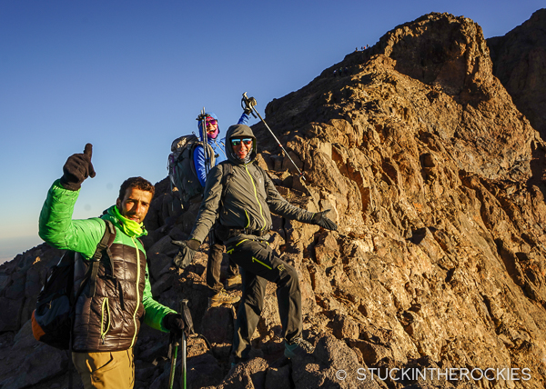 Hamid, Chris and Christy, on the ridge below Toubkal's summit.