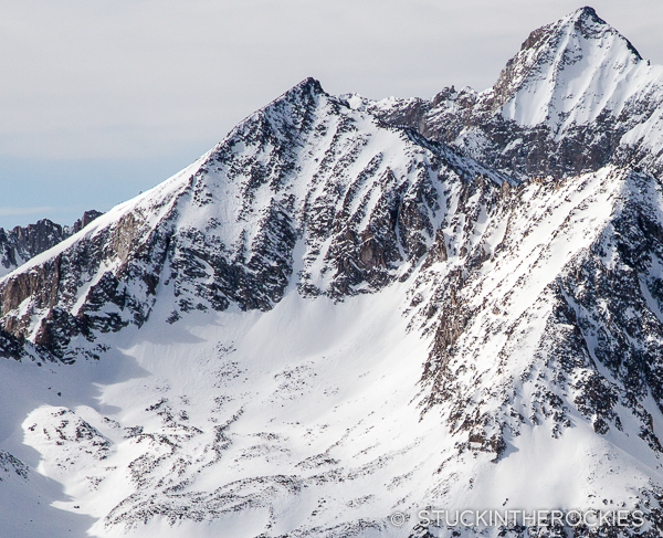 A long view of Clark Peak from Garret Peak across the valley.