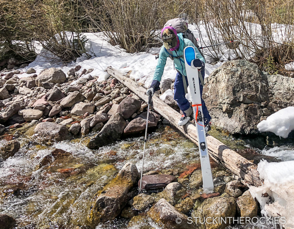 Christy Mahon crossing Snowmass Creek.