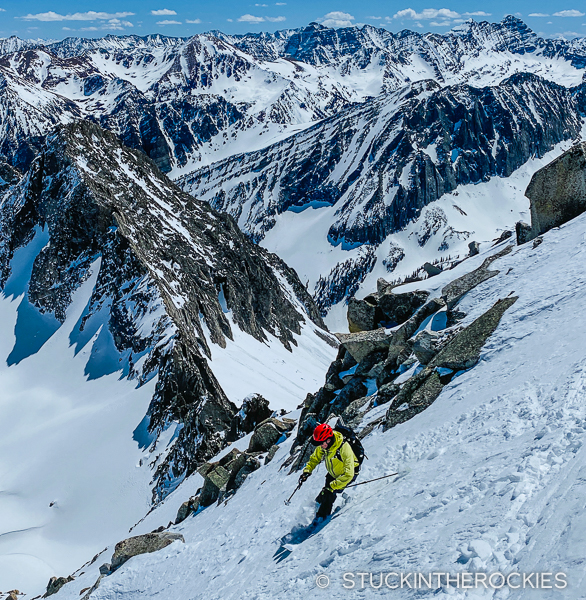 Ted Mahon skiing the East Face of Clark Peak.