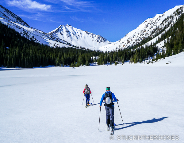 Skinning across the Fryingpan Lakes on the way to Deer Mountain