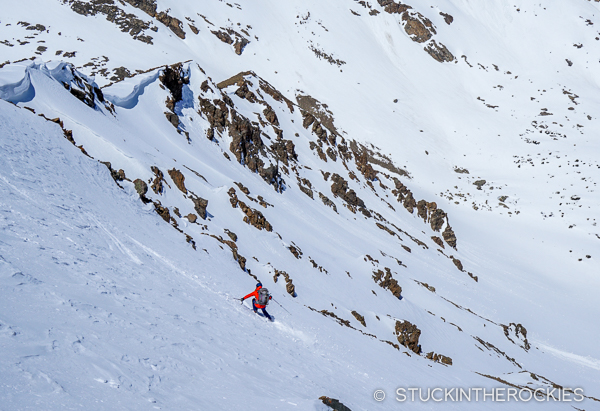 Christy Mahon skis the north face of Deer Mountain