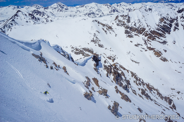 Chris Davenport skis the north face of Deer Mountain