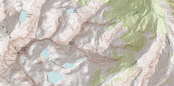 A map of Clark Peak and surrounding area.