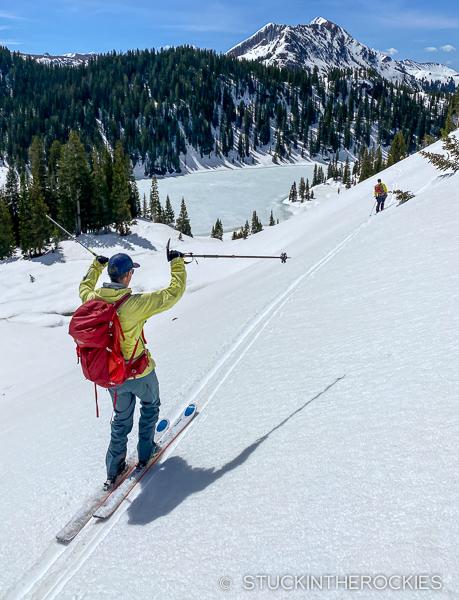 Ted Mahon skiing to Geneva Lake