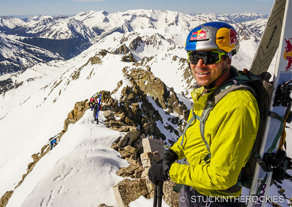 Chris Davenport on the summit ridge of Siberia Peak