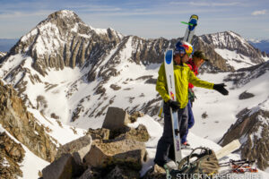 Christy Mahon and Chris Davenport on the summit of SIberia Peak he