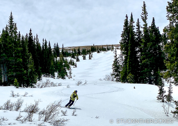 Ted Mahon skiing the Front Range 13er.