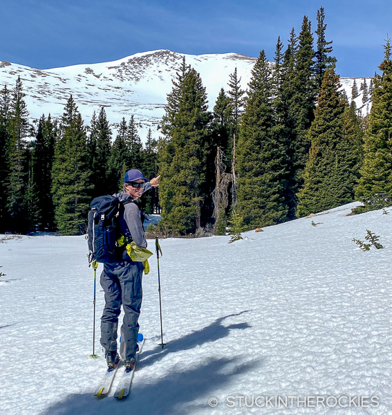 Ted Mahon approaching Bard Peak