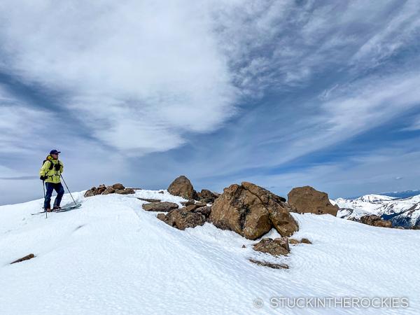 Ted Mahon skiing Bard Peak