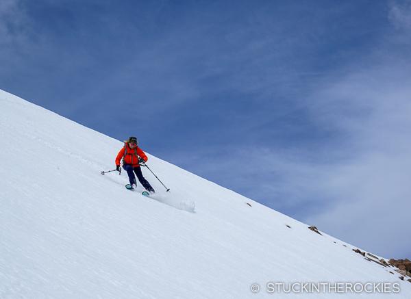Christy Mahon skiing Bard Peak