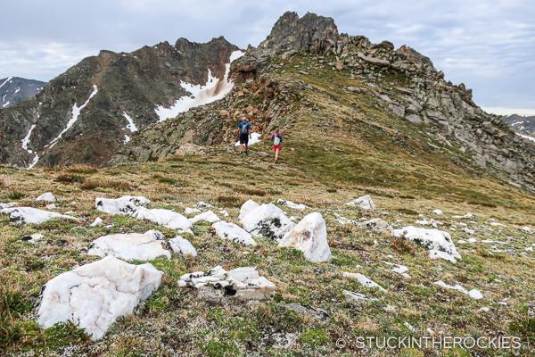 On the ridge, with the summit of Mount Boddington