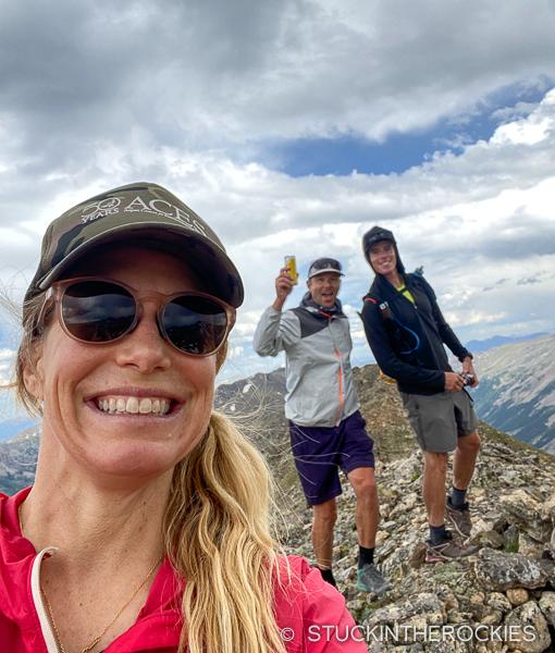 Christy and Ted Mahon and Chris Davenport on the Mount Boddington Ridge