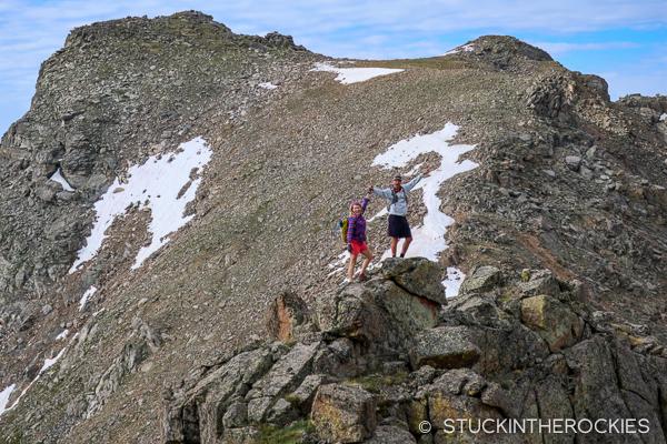 Christy Mahon and Chris Davenport on the Mount Boddington Ridge