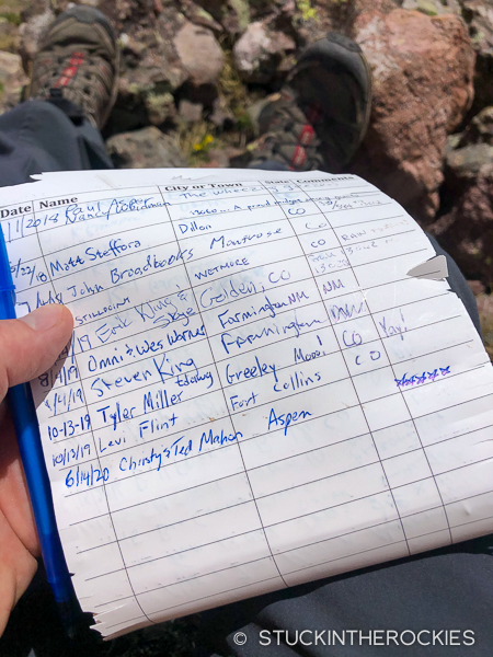 Summit register on Point 13062