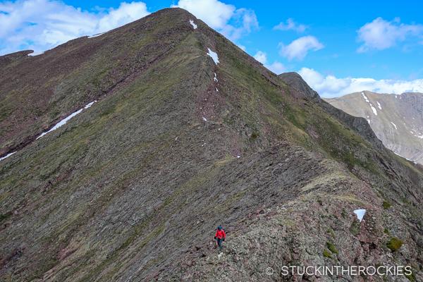 Christy Mahon ridge walking above Rito Alto Lake