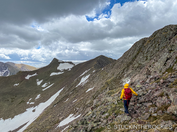Ted Mahon hiking the ridge above Mas Alto Lake