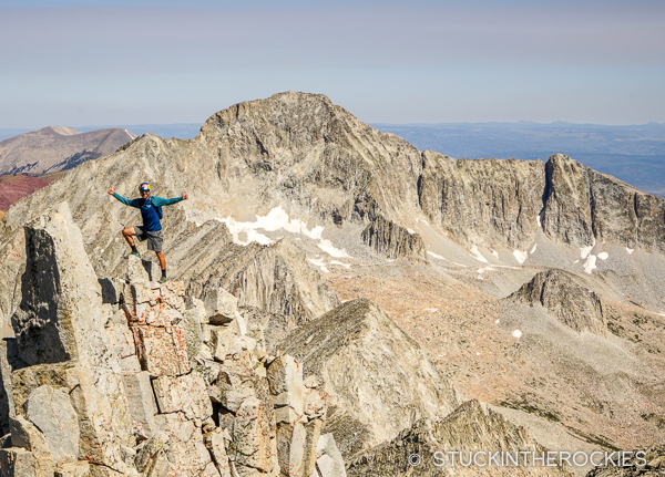 Chris Davenport on the summit of Snowmass Mountain