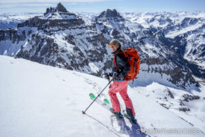 Christy, on the summit of Cirque Mountain, ready to ski.