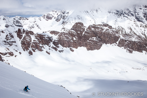 Joey Giampaolo skiing the north face of Len Shoemaker Peak