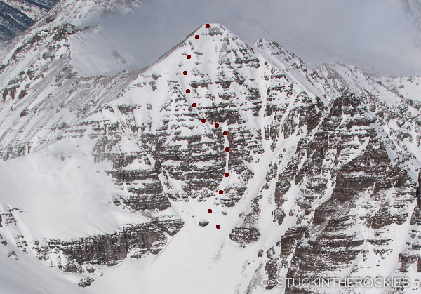 A photo of the ski line on the South Face of Castle Peak.
